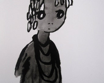 Satou, portrait, child, African hand made in India ink