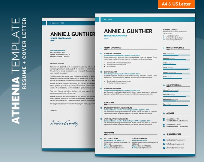 Creative Resume Template / Curriculum Vitae | Creative and Clean Word Resume Design + Cover Letter, Instant Download | Athenia Resume