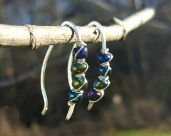Hammered ear wires with glass beads