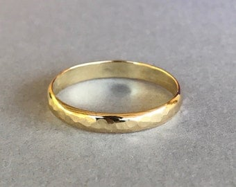 Yellow Gold Band, Sterling silver Hand Hammered Gold Plated Wedding And Anniversary Band, 3mm Yellow Gold Women's Band