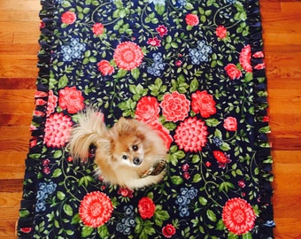 Flower Print Fleece Blanket