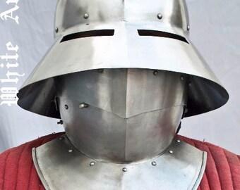 Kettle Hat Helmet with bevor (Falling buffe) SCA LARP