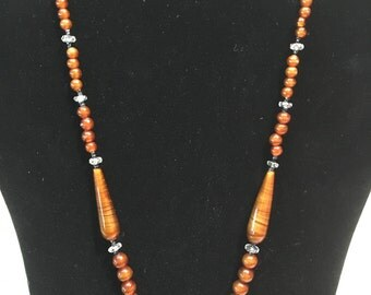 Vintage / Amber Glass Beaded Necklace  / Antique Jewlery