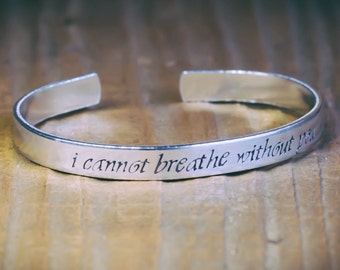 I Cannot Breathe Without You / Poetry Jewelry / Poetry Gift / Romantic Jewelry / Romantic Gift / Literary Gift / Literary Jewelry
