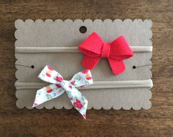 Felt + Fabric Bows Headband Set