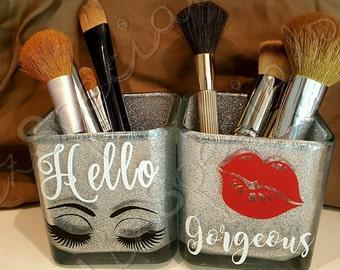 Glitter Hello Gorgeous Makeup Brush Holder, makeup organizer, unique double make-up brush holder