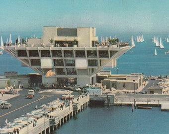 St Petersburg, Florida Vintage Postcard - Aerial View of St. Petersburg, Florida Pier, Tampa Bay, Sailboating