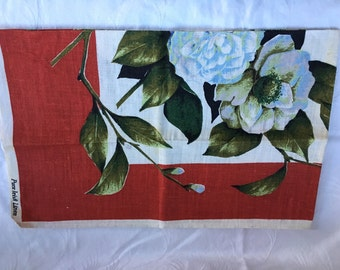 Irish Linen Kitchen Towel with Rose of Sharon Design - #82