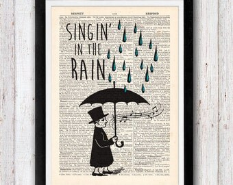 Singin in the Rain in rain vintage dictionary page book art print