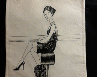 Cotton shopping bag hand-painted with seated woman with a dog.