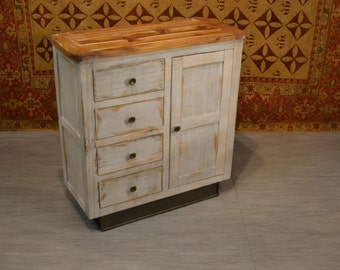 Rustic Distressed Style Solid Wood White Finish Sideboard / Media Cabinet / Kitchen Cabinet / Entry Way Console