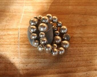 Silver beaded bracelet. Balls bracelet. Elastic bracelet. Stretch Bracelet. Bohemian. French vintage.