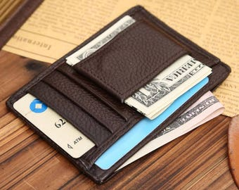 Genuine Leather, Magnetic Money Clip, Wallet + ID Holder, Slim, Comfortable and Classy, 2 colours - black or brown.