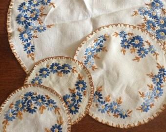 Set of handmade vintage doilies