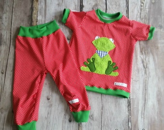 Frog pajamas, Red spotted Green 80-146