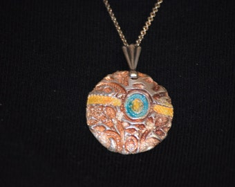 Fine Silver Design With Enamel-With Silver Chain