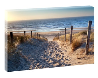 Gone to the beach picture Beach sea stretcher canvas poster XXL 120 cm * 80 cm 544