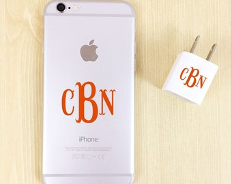 Monogram Decal iPhone and Charger - Monogrammed iPhone Decal - Charger Sticker - Custom iPhone and Charger Decal - Vinyl for iPhone - iPhone