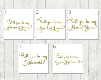 Will You be My Bridesmaid Decal - Will You be My Matron of Honor Decal - Wedding Party Proposal Decals - Junior Bridesmaid - Wedding Decals