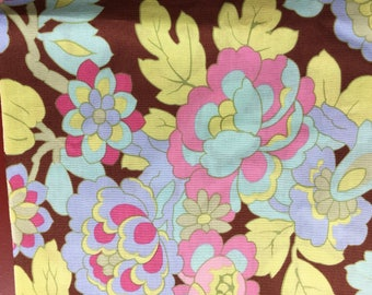 Quilting Fabric Beautiful Brown and Pastel Foral.  2 yds available.