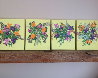 Original,hand painted,painting of flowers,flowers,set of 4,set of 4 flowers,bouquet of flowers, acrylic on canvas.