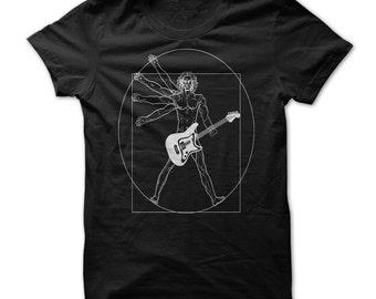VITRUVIAN GUITAR MAN T-shirt.Guitar Man T-shirt.Man playing guitar Tee.Gift for a guitarist.Musical Instruments t-shirt.Guitar gift t-shirt.