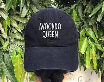 Avocado Queen Embroidered Denim Baseball Cap Cotton Hat Unisex Size Cap Tumblr Pinterest