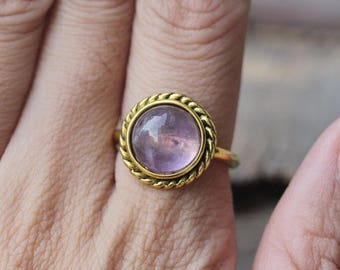 Amethyst Rope Noveau Design Cabochon Ring