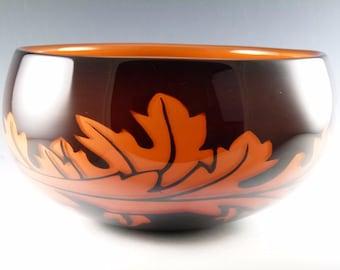 ORREFORS Glass - Jan Johansson - Graal Bowl - Autumn / Amber Leaves