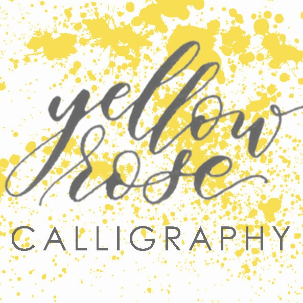 Yellow rose calligraphy modern by yrcalligraphy