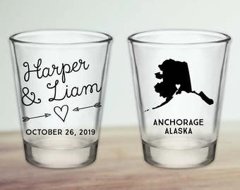 Custom Alaska Wedding Favor Shot Glasses