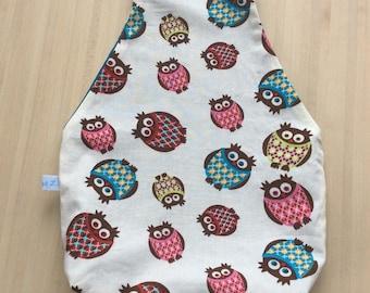 Sac à projet tricot ou crochet nomade - Pochon avec des hiboux pour vos encours