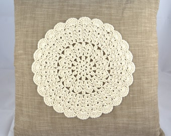 Shabby Chic Cushion with Crochet Appliqué