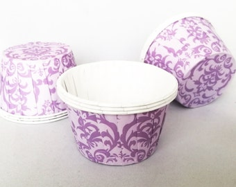 High Quality Pleated Purple Damask Baking Cups Cupcake Cases Muffin Cups