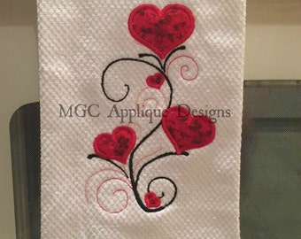 Hearts and Vines Applique Embroidery Design