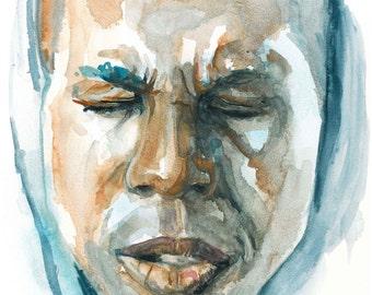 Print of Leslie Odom Jr watercolor portrait