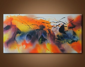 Abstract Painting, Original Abstract painting, Contemporary Modern Fine Art, Colorful Canvas Art, Office decor, Large size, 24 x 48 in