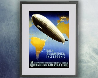 Hamburg Zeppelin Vintage Aviation Poster Print