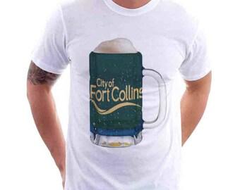 Fort Collins City Flag Beer Mug Tee, Home Tee, City Pride, City Flag, Beer Tee, Beer T-Shirt, Beer Thinkers, Beer Lovers Tee, Fun Beer Tee