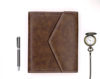 Refillable Organizer, 6-ring with Fountain Pen Friendly Graph Paper, A5, Synthetic Leather, Travel Journal with pockets.