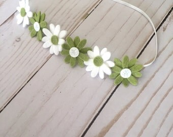 Felt flower headband , felt crown headband , garland headband , white and green flower headband