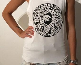 Christmas Singlet - Women's White and Black Singlet Sandy Logo