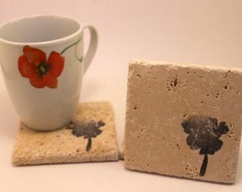 Stone Poppy Coasters- handmade- set of four- tumbled stone- drink coaster- gift- home decor