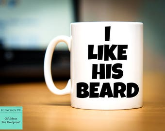 His And Her Mugs   I Like Her Butt   I Like His Beard   Funny mug   Couple Mug   Wedding Gift   Birthday Gift
