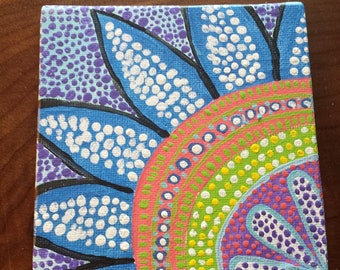 "Acrylic Dot Mandala Painting on Flat Canvas - ""Brights"""