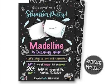 Slumber Party Invitation, Sleepover Invitation, Pajamas Invitation, Sleepover Party, Slumber Party, Printables, Personalized, Pillow Fight