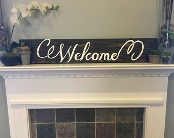 Welcome, Hand painted recycled pallet sign