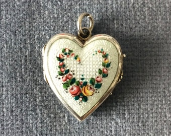 Silver Guilloche Enamel Heart Locket. 1920-1930. Hand-Painted Roses. White Enamel
