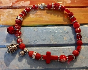 Pet Accessories,Beaded Cat Neckwear,Bell Pet Necklace,Handmade,Red,Boho Dog Necklace,Costume,Gift for Pet,Red Pet Necklace,Bling,Sparkel
