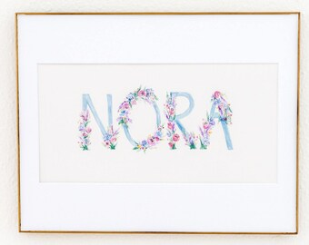 Blue & Pink Block Letter Custom Watercolor Name